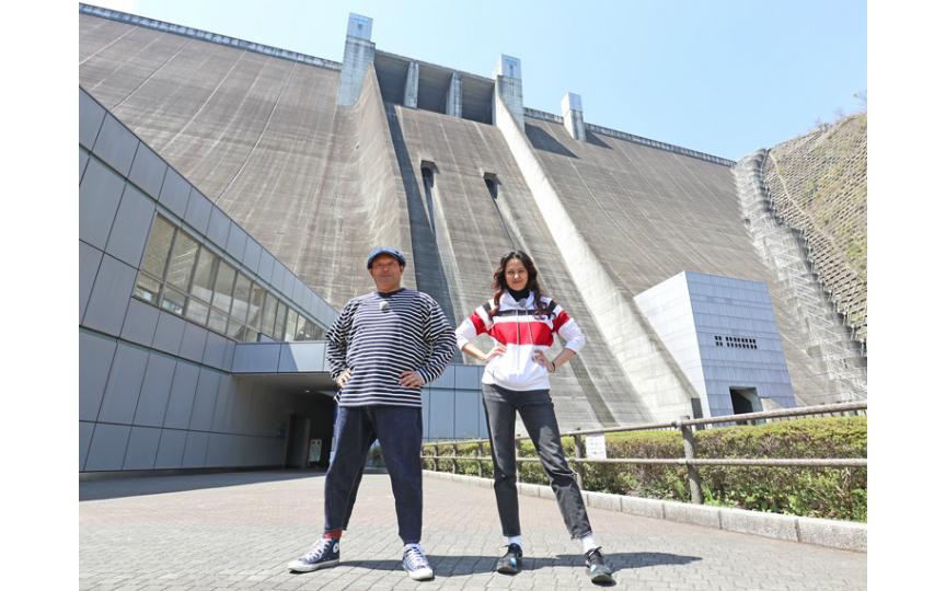 『進撃の巨人』の壁みたい! 山口智充&浦浜アリサ、宮ヶ瀬ダムを堪能!